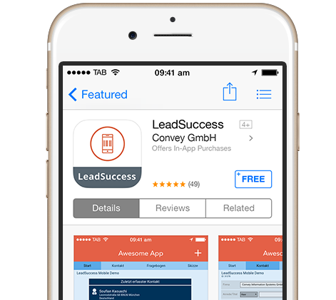 LeadSuccess scanner app installed to mobile phone
